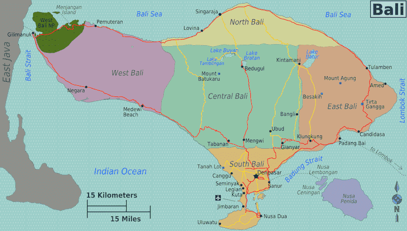Onde Ficar em Bali na Indonésia: Mapa