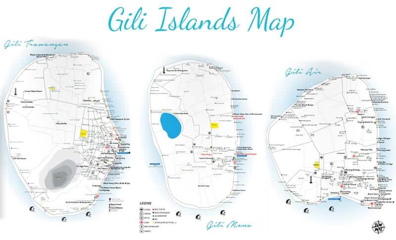 Onde Ficar em Gili Islands na Indonésia: Mapa