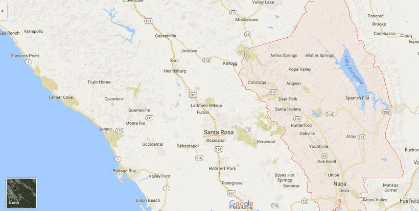 Onde Ficar Em Napa Valley: Mapa