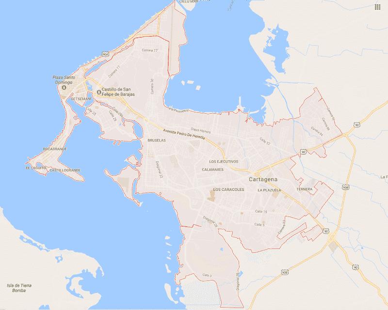 Onde Ficar em Cartagena: Mapa