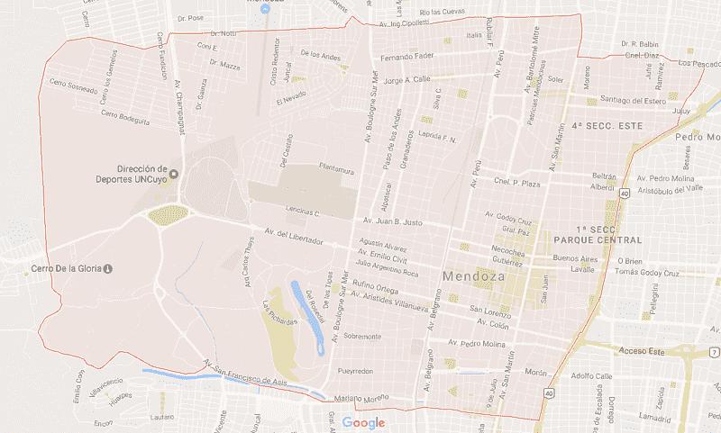 Onde Ficar em Mendoza: Mapa