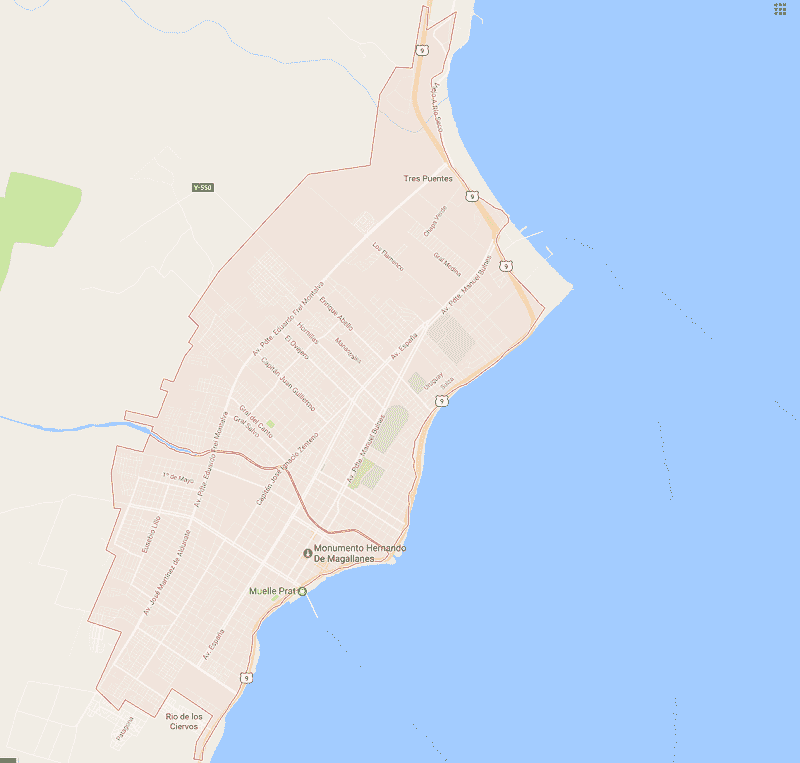 Onde Ficar em Punta Arenas: Mapa