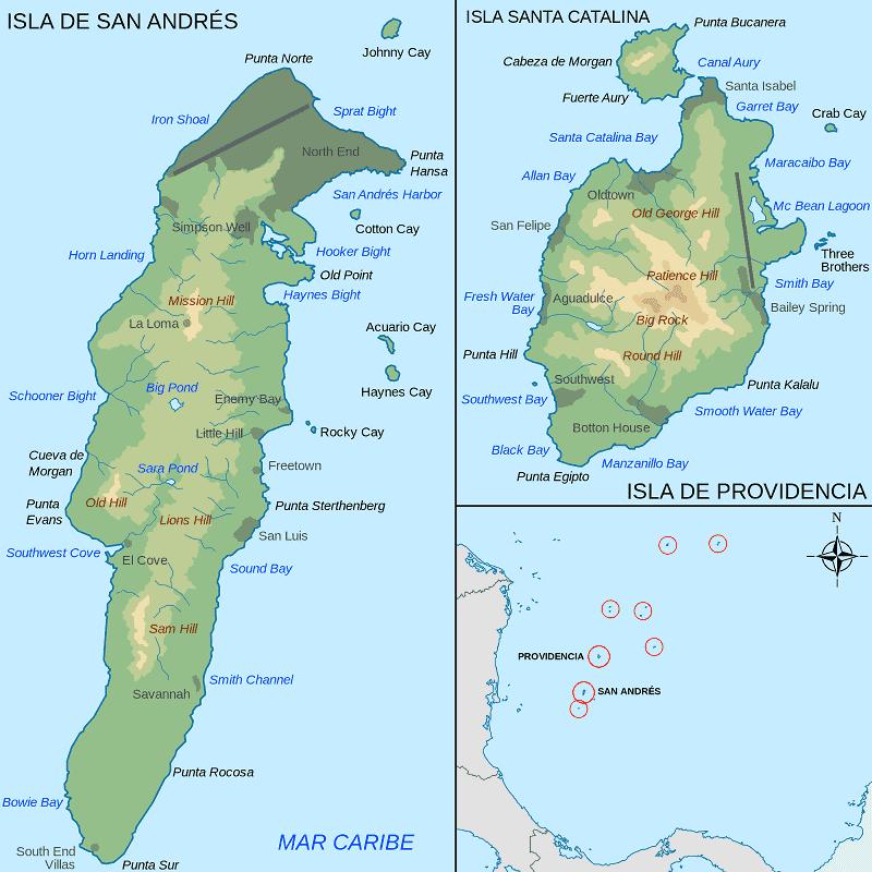 Onde Ficar em San Andres: Mapa