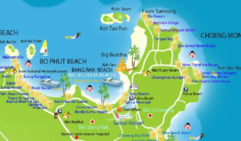 Onde Ficar Em Bophut: Mapa