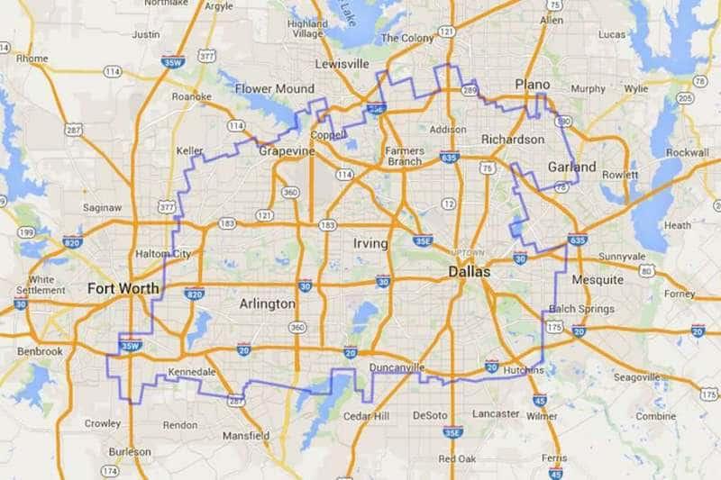 Onde Ficar Em Dallas: Mapa
