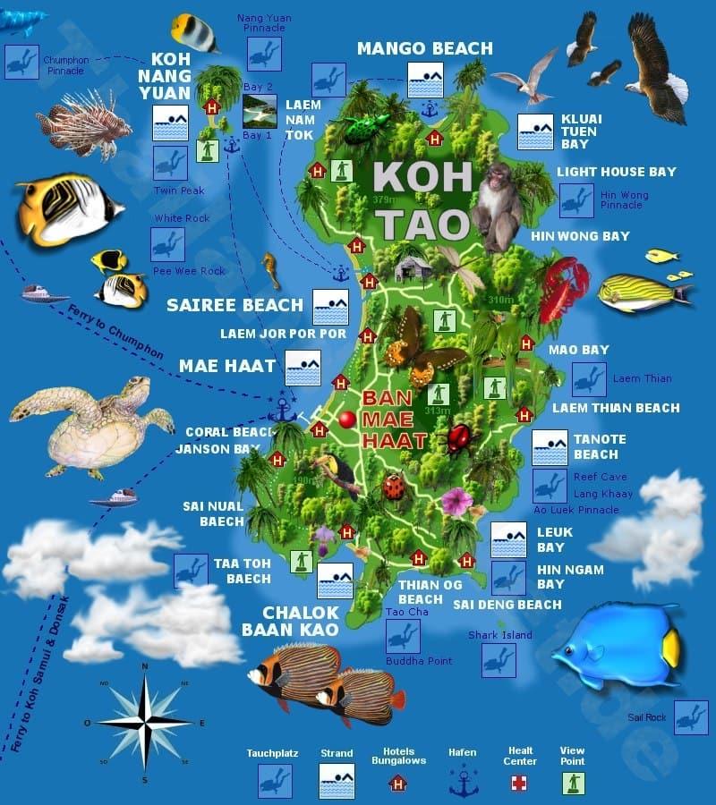 Onde Ficar Em Koh Tao: Mapa