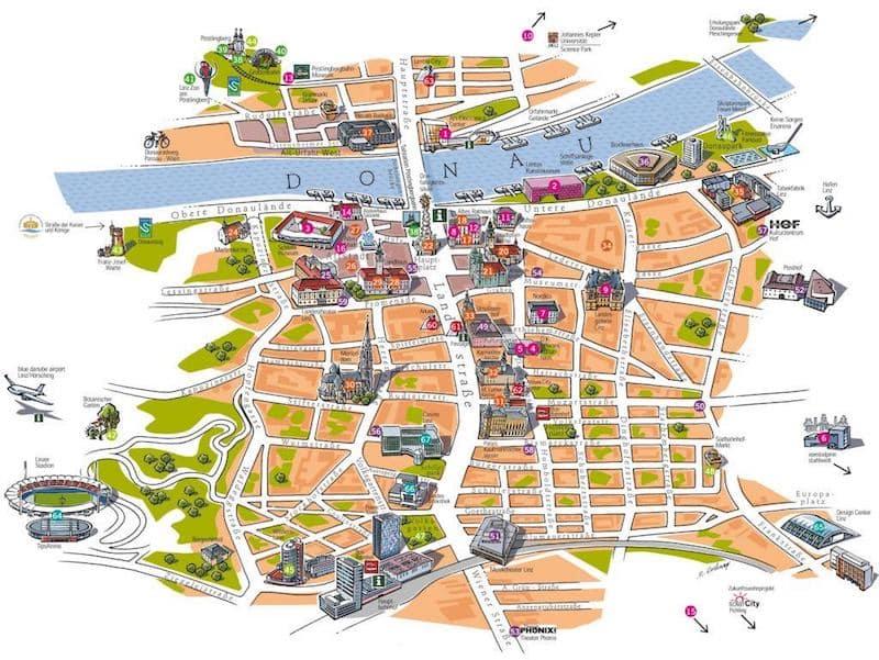 Onde Ficar em Linz na Áustria: Mapa