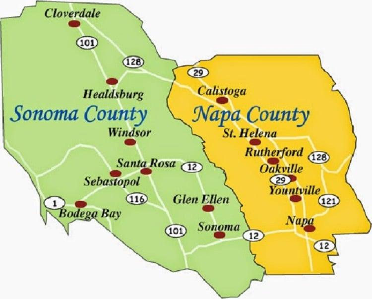 Onde Ficar Em Sonoma: Mapa