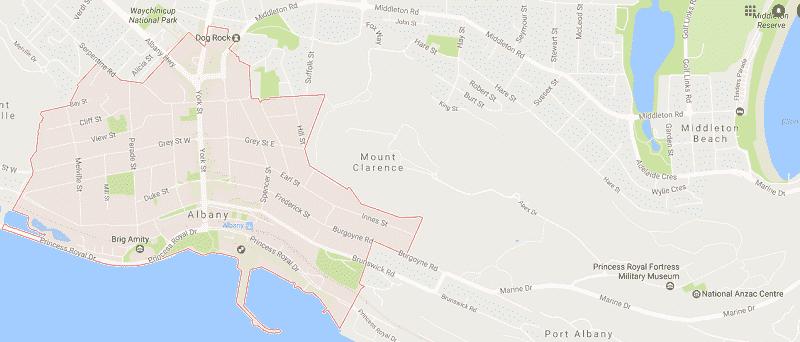 Onde Ficar em Albany: Mapa