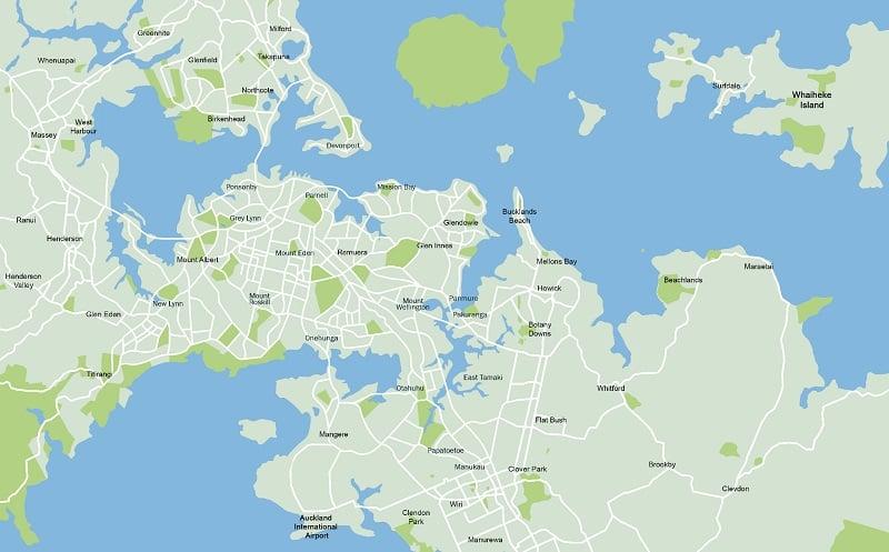 Onde Ficar em Auckland: Mapa