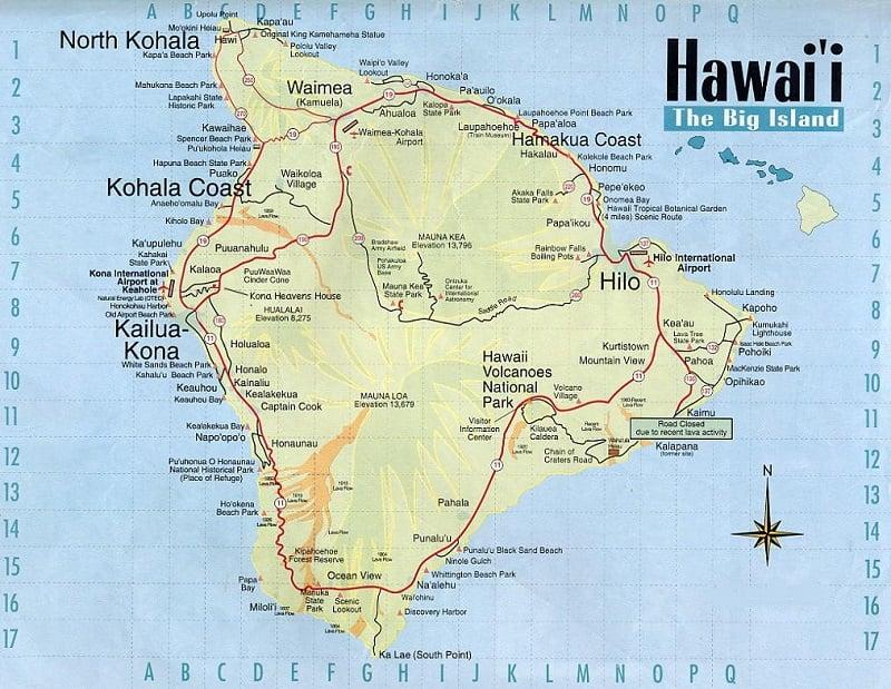 Onde Ficar em Big Island: Mapa