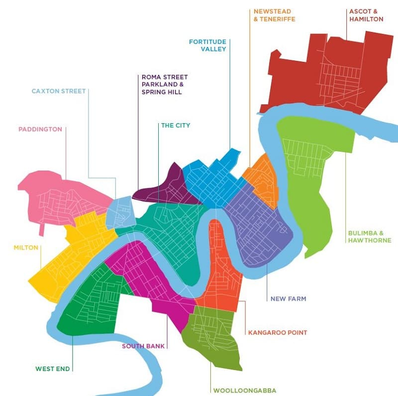 Onde Ficar em Brisbane: Mapa