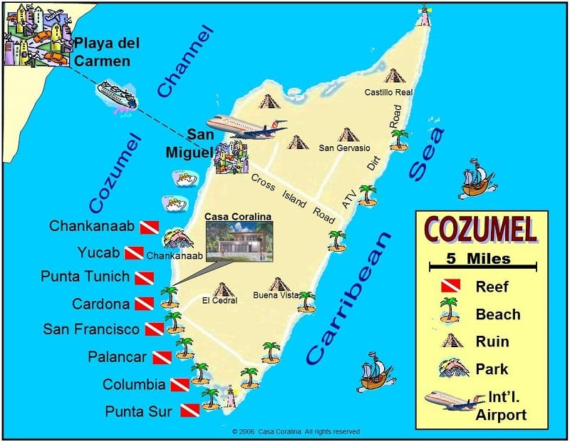 Onde Ficar em Cozumel: Mapa