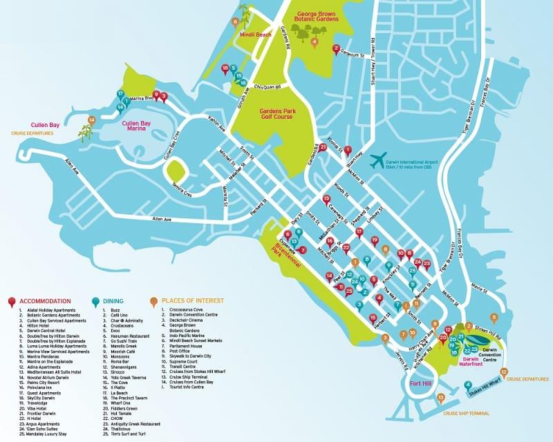 Onde Ficar em Darwin: Mapa
