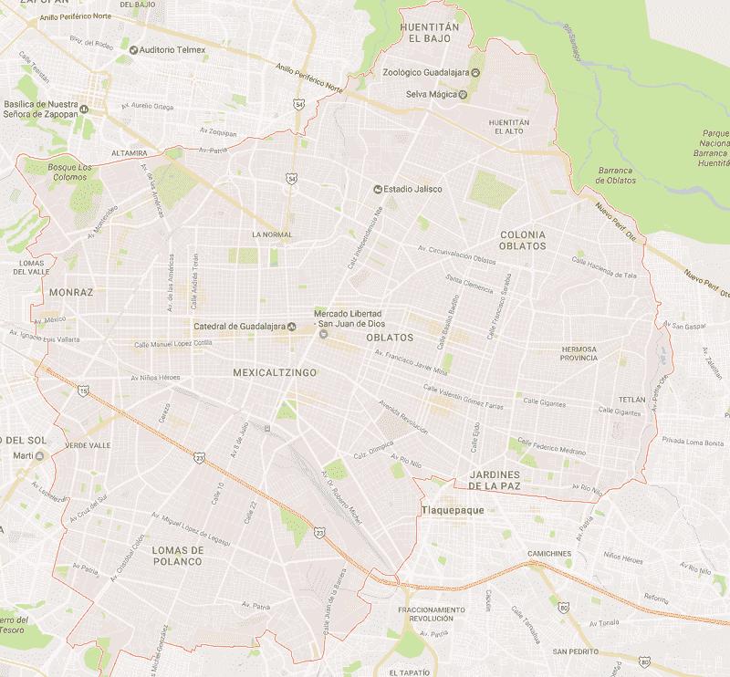 Onde Ficar em Guadalajara: Mapa