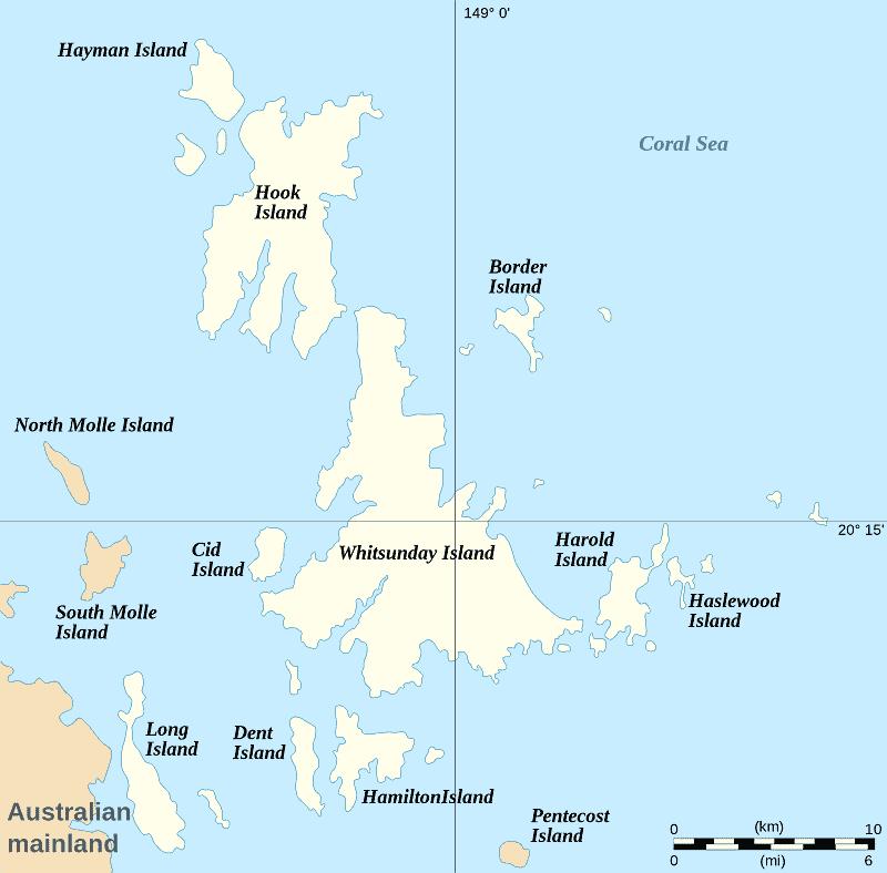 Onde Ficar nas Ilhas Whitsunday: Mapa