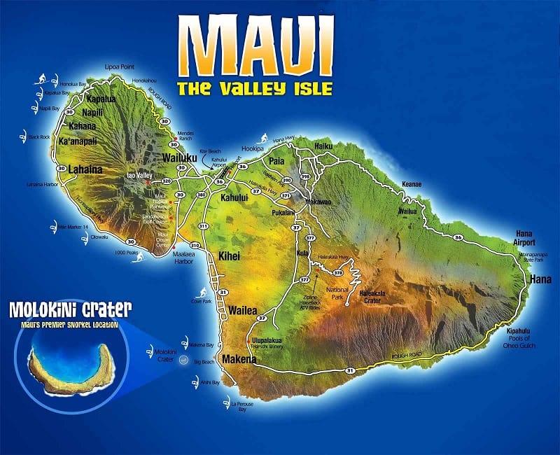 Onde Ficar em Maui: Mapa
