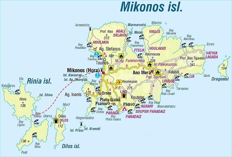 Onde Ficar em Mykonos: Mapa