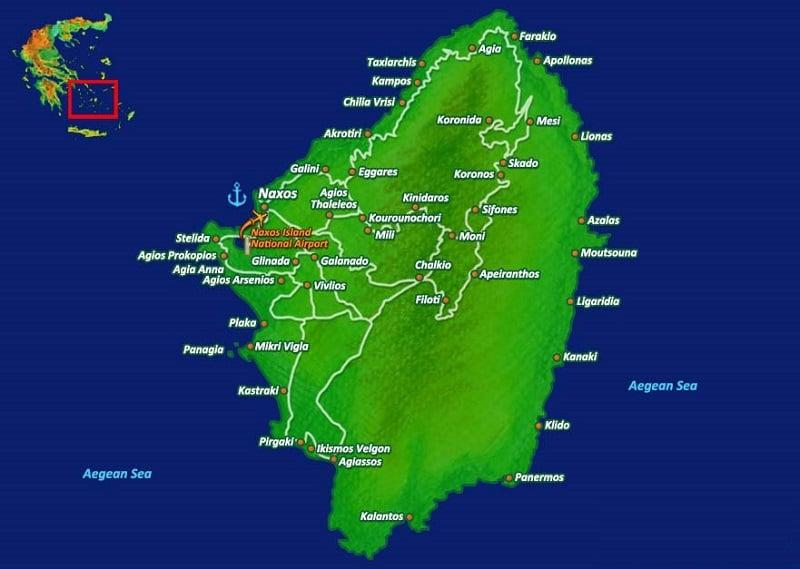 Onde Ficar em Naxos: Mapa