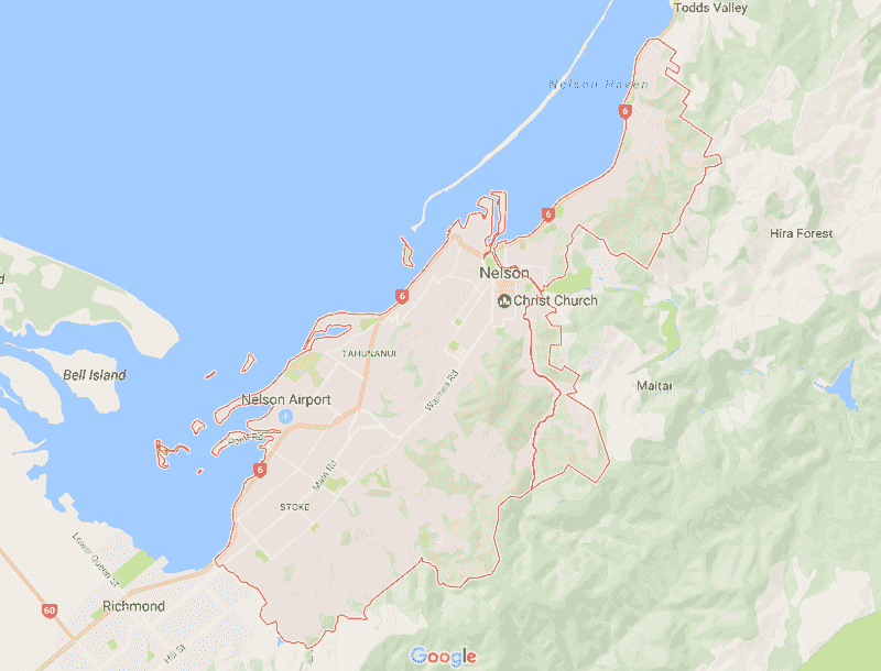 Onde Ficar em Nelson: Mapa