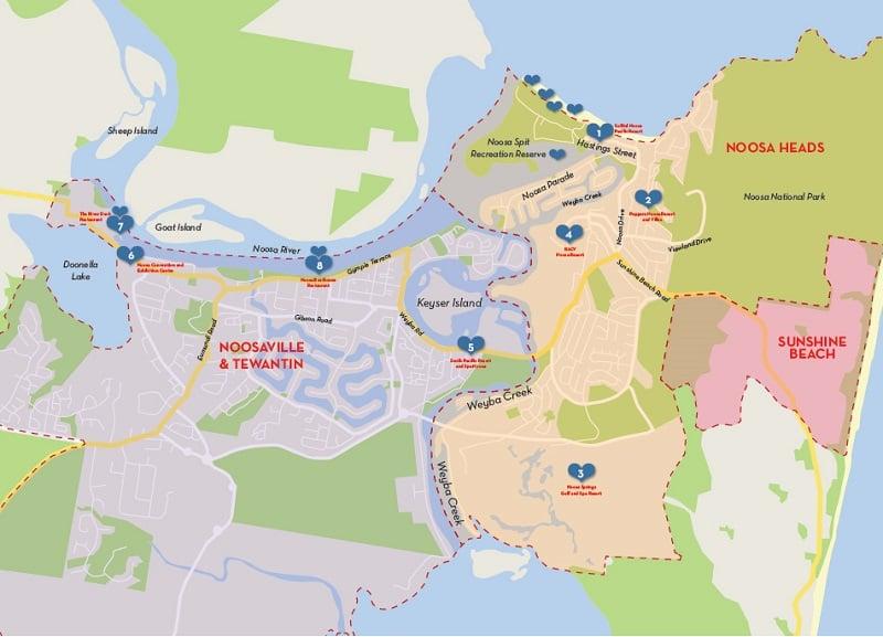 Onde Ficar em Noosa Heads: Mapa