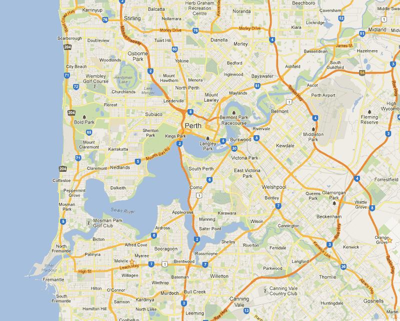 Onde Ficar em Perth: Mapa
