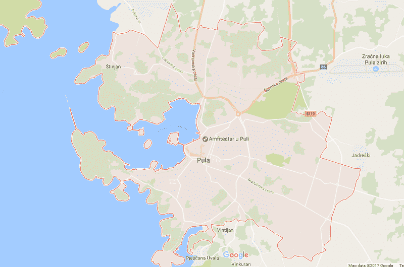 Onde Ficar em Pula: Mapa