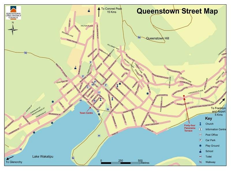 Onde Ficar em Queenstown: Mapa