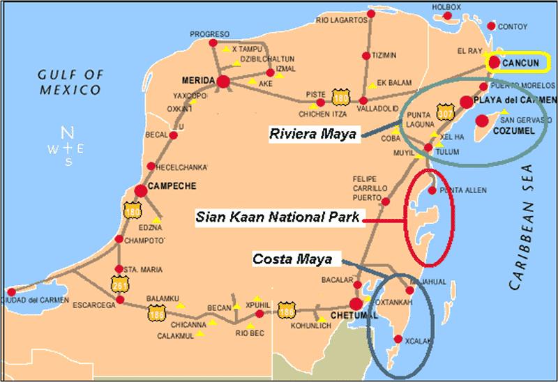 Onde Ficar na Riviera Maya: Mapa