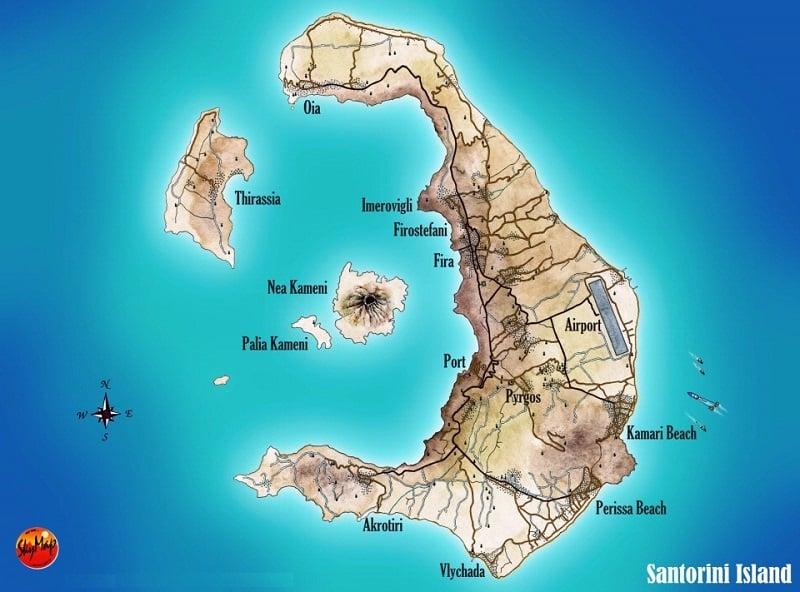 Onde Ficar em Santorini: Mapa