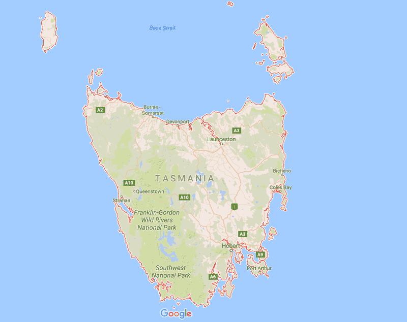 Onde Ficar na Tasmânia: Mapa