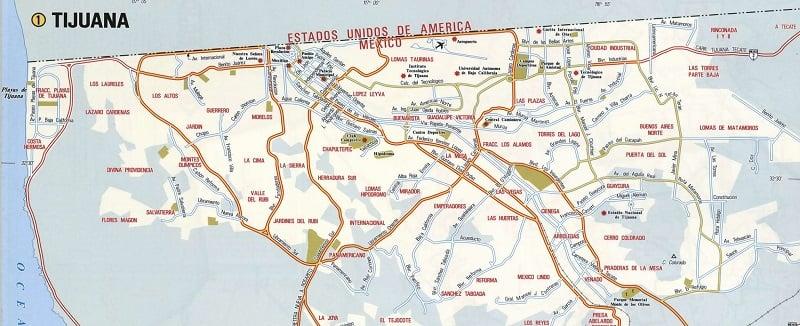 Onde Ficar em Tijuana: Mapa