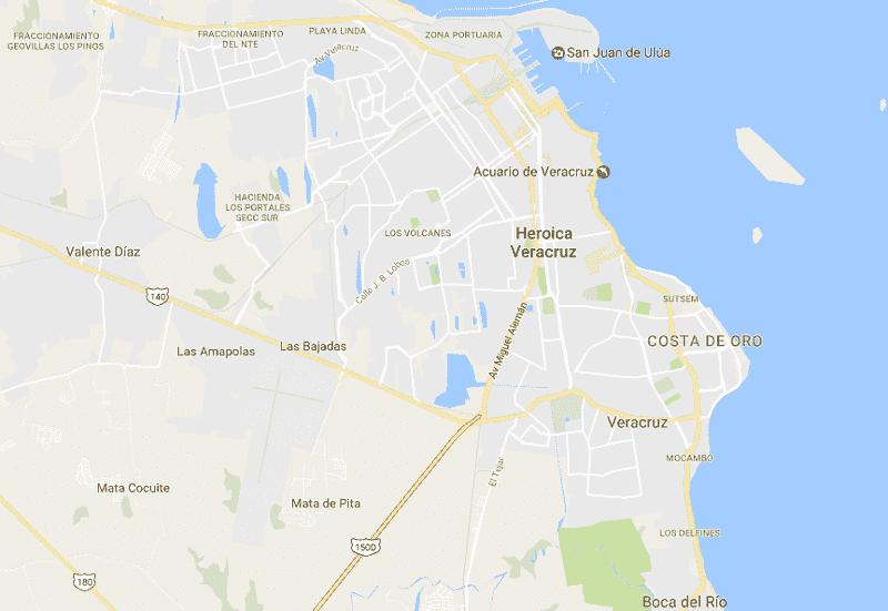 Onde Ficar em Veracruz: Mapa