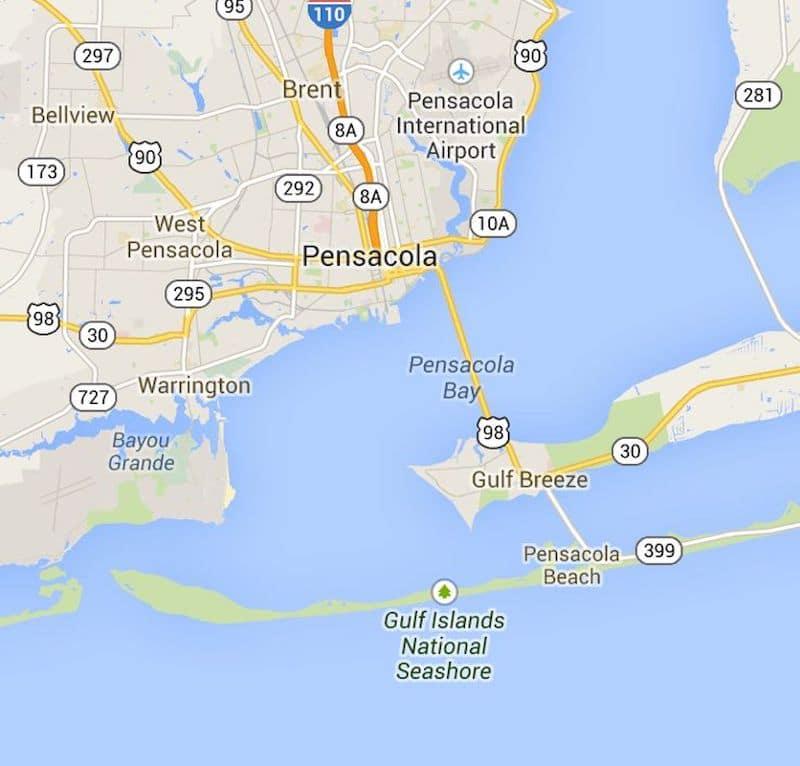 Onde Ficar Em Pensacola: Mapa
