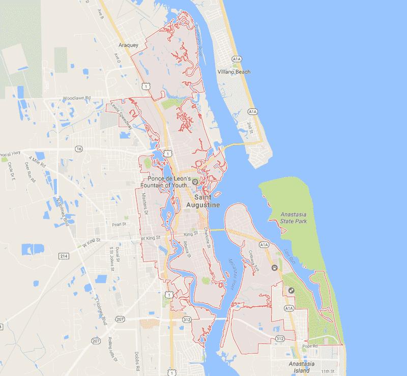Onde Ficar Em Saint Augustine: Mapa