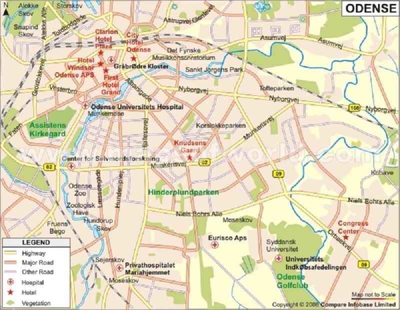 Onde Ficar em Odense: Mapa