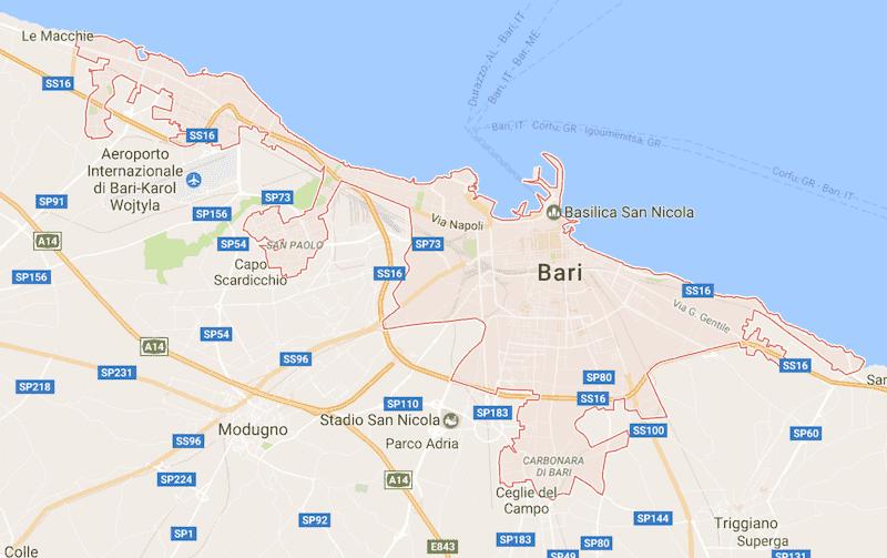 Onde Ficar em Bari na Itália: Mapa
