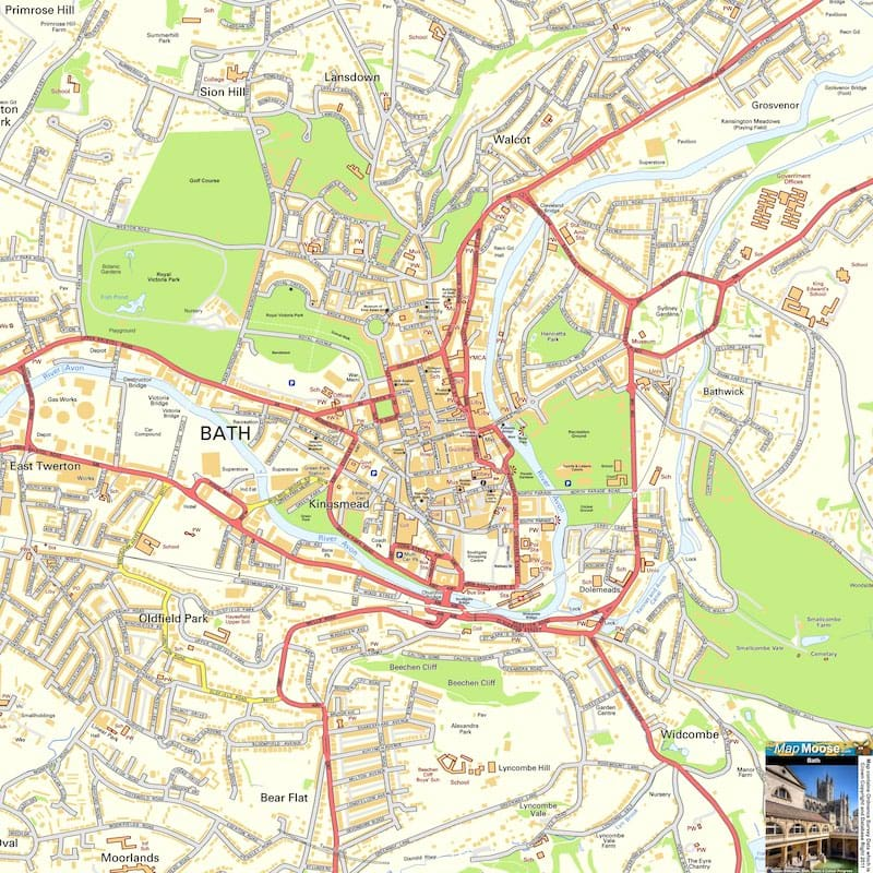 Onde Ficar em Bath na Inglaterra: Mapa