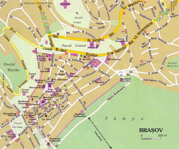 Onde Ficar em Brasov na Romênia: Mapa