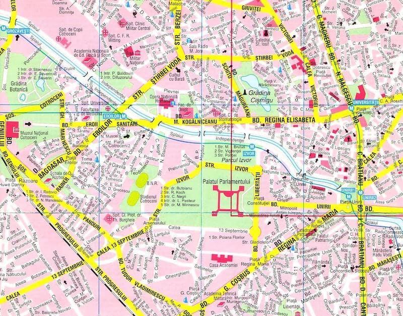 Onde Ficar em Bucareste na Romênia: Mapa