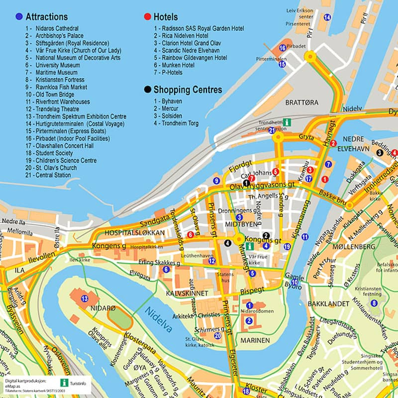 Onde Ficar em Trondheim na Noruega: Mapa