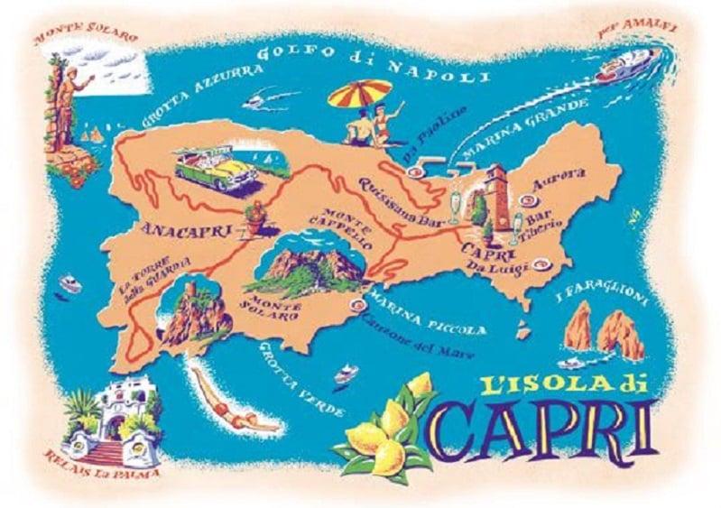 Onde Ficar na Ilha de Capri: Mapa