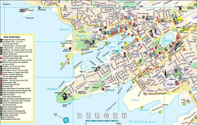 Onde Ficar em Bergen: Mapa