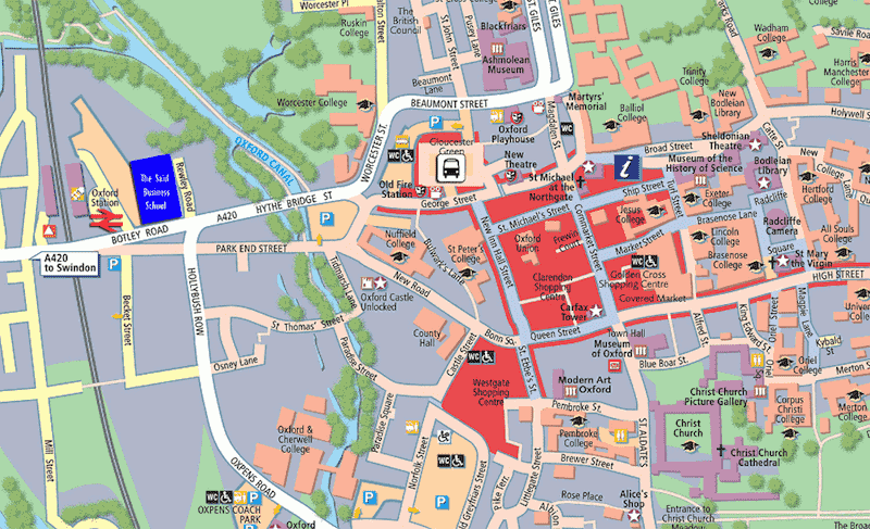 Onde Ficar em Oxford na Inglaterra: Mapa