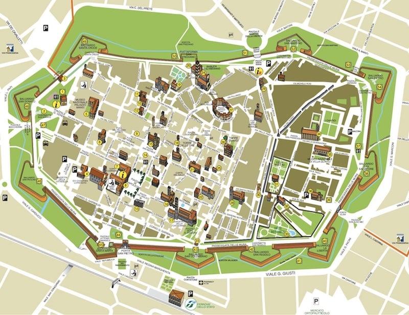 Onde Ficar em Lucca na Itália: Mapa