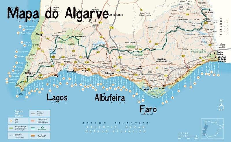 Onde Ficar em Algarve: Mapa