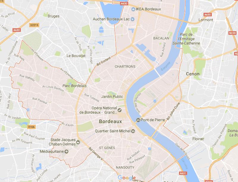 Onde Ficar em Bordeaux: Mapa