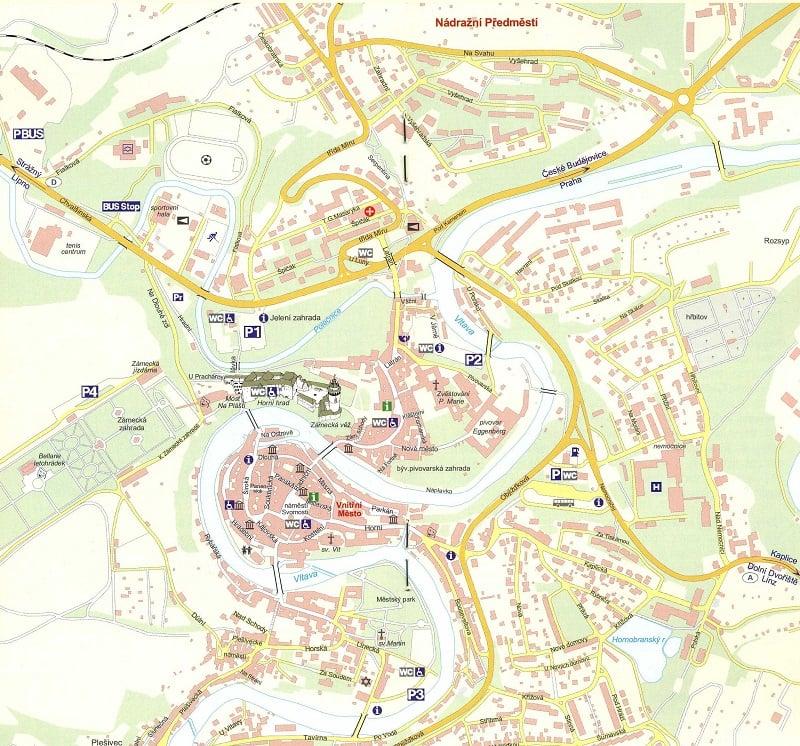 Onde Ficar em Cesky Krumlov: Mapa