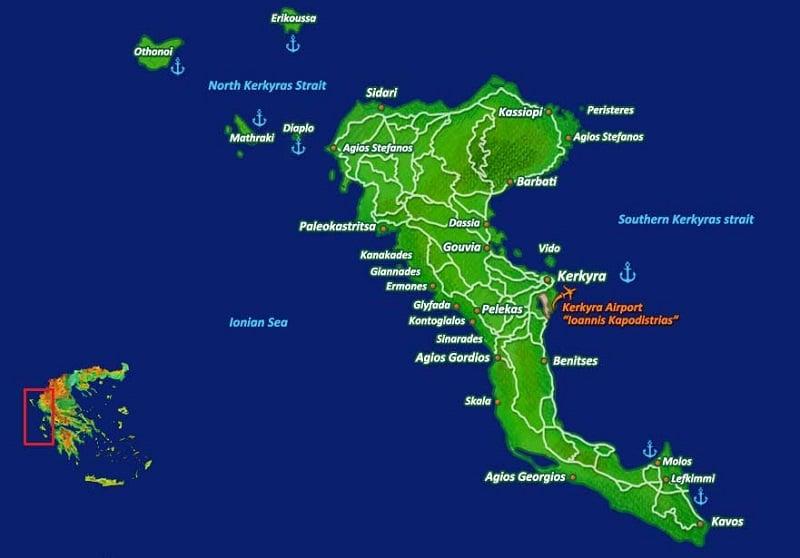 Onde Ficar em Corfu: Mapa