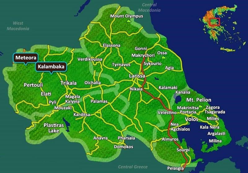 Onde Ficar em Meteora: Mapa
